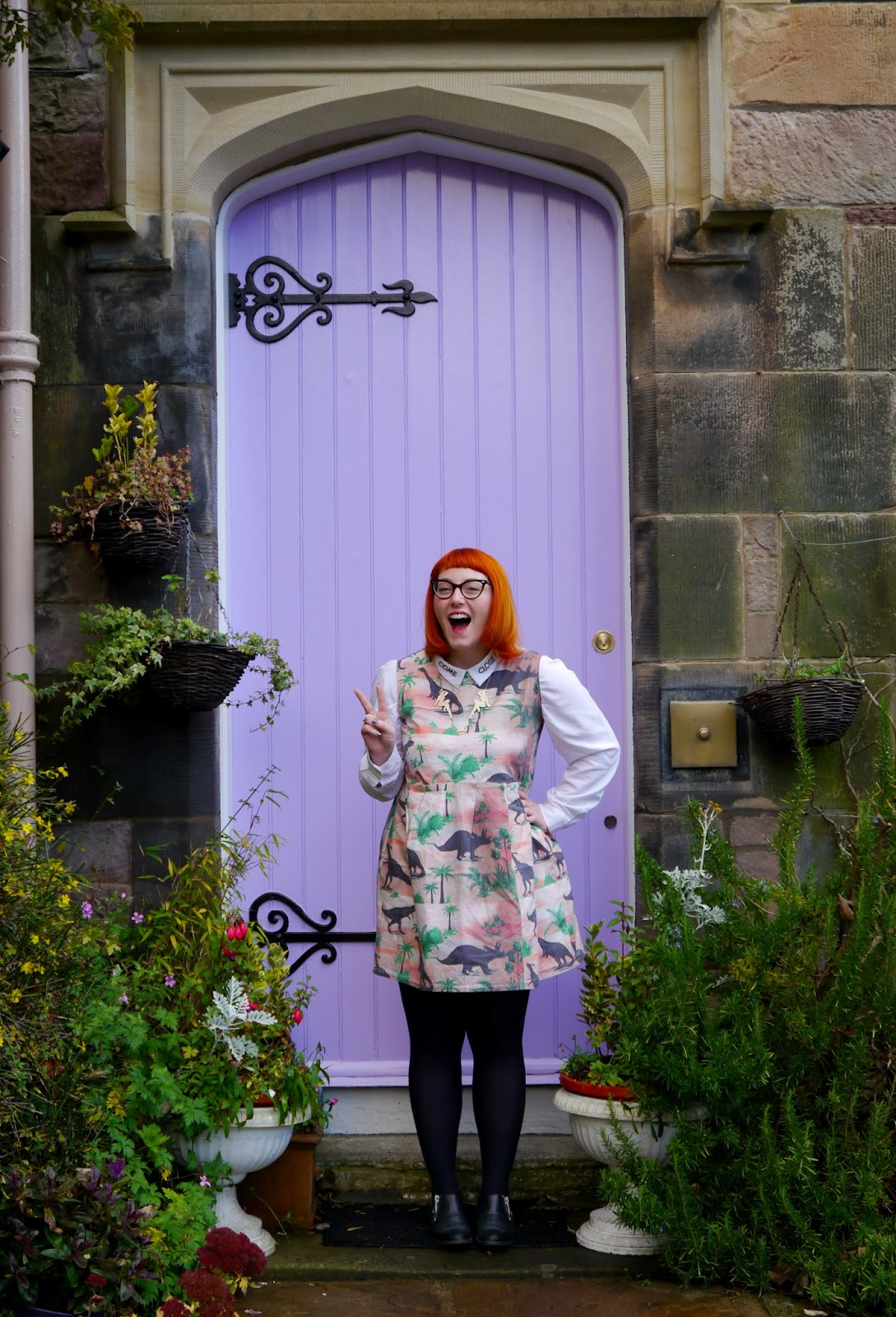 Scottish Blogger, Christmas Shopping, Edinburgh Blogger, Edinburgh, Scotland Re:Designed, Limited Edition Pop Up, Dinosaur Dress, Monki Come Close Shirt, Vintage Style Me Dinosaur Dress, Karen Mabon necklace, Clarks boots, outfit, what I wore, lilac door, garden