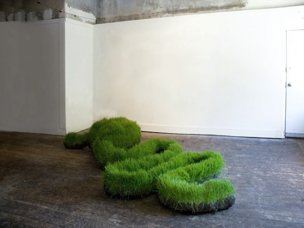Grass sculptures by Mathilde Roussel