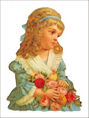 cromo de niña vintage con rosas