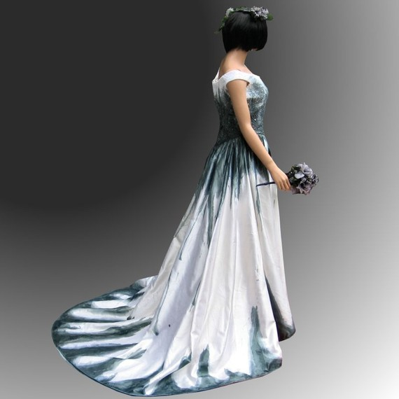 Gothic wedding dress with stunning hand painted handmade for Gothic style wedding dresses