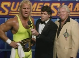 WWF / WWE - SUMMERSLAM 1990: WWF Intercontinental Champion Mr. Perfect (W/ Bobby Heenan) had some harsh words for his challenger, Texas Tornado