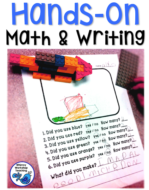 Integrate math and writing with materials that students already love using - lego and blocks