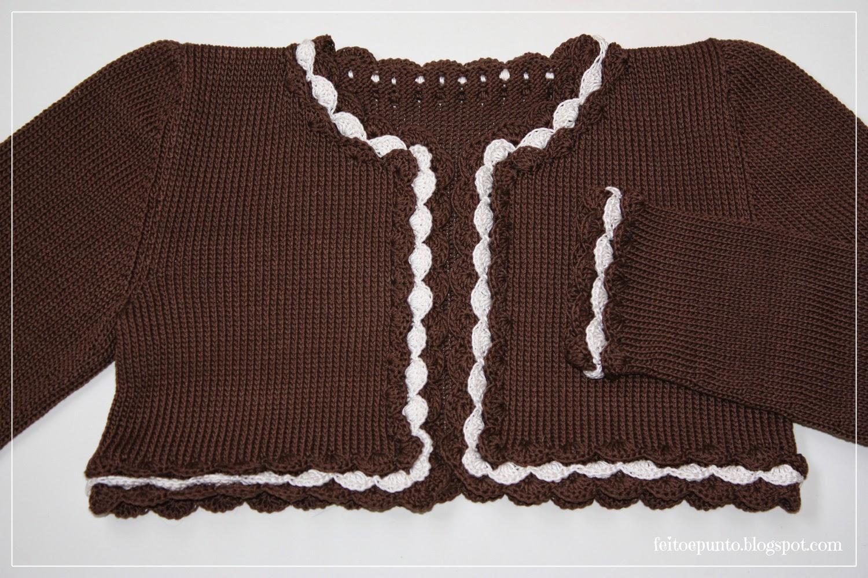 feitoepunto: Chaqueta de algodón chocolate