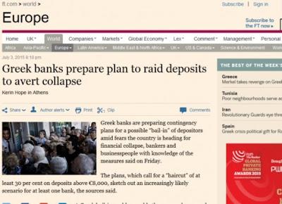 Financial Times: Σχεδιάζουν κούρεμα τουλάχιστον 30% σε όλες τις καταθέσεις άνω των 8.000 ευρώ