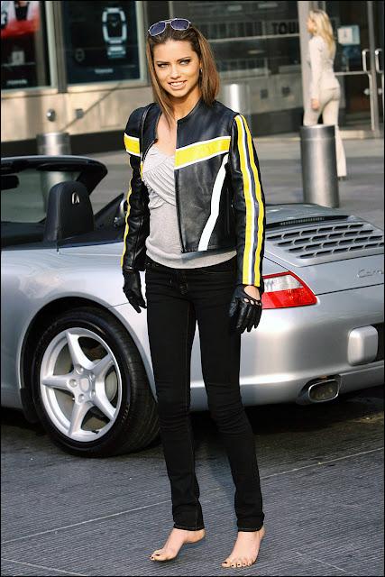 Barefoot Celebrities: Adriana Lima driving barefoot Taylor Momsen