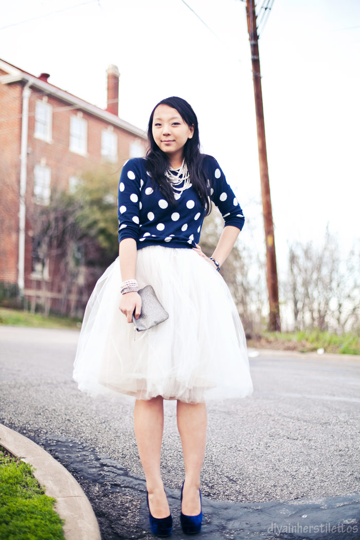 Shabby Apple tulle tutu skirt, old navy polka dot sweater, topshop velvet blue strut heels, forever 21 pearl jewelry, austin texas, austin fashion blog, texas style blog, diya liu