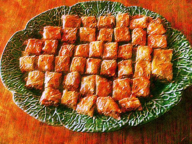 photo editing of a platter of baklava