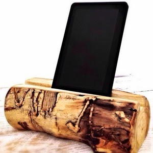 Hand carved log tablet stand by TheRusticPalette on Etsy