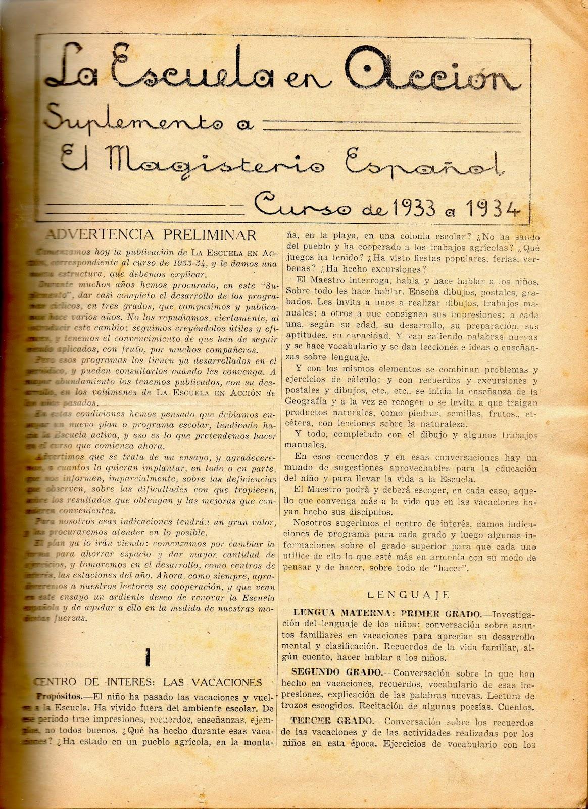La Escuela en Acción – Suplemento a El Magisterio Español – Curso de 1933 a 1934