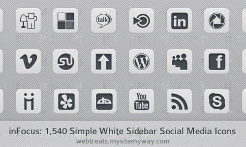Simple White Social Media Icons