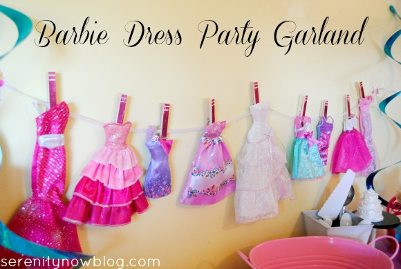 Make a Party Garland out of Barbie Dresses, from Serenity Now