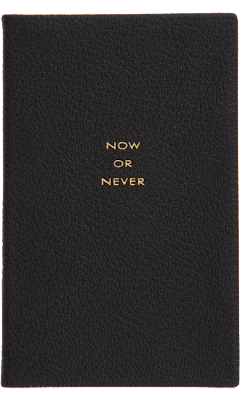 """now or never"" luxury leather planner"