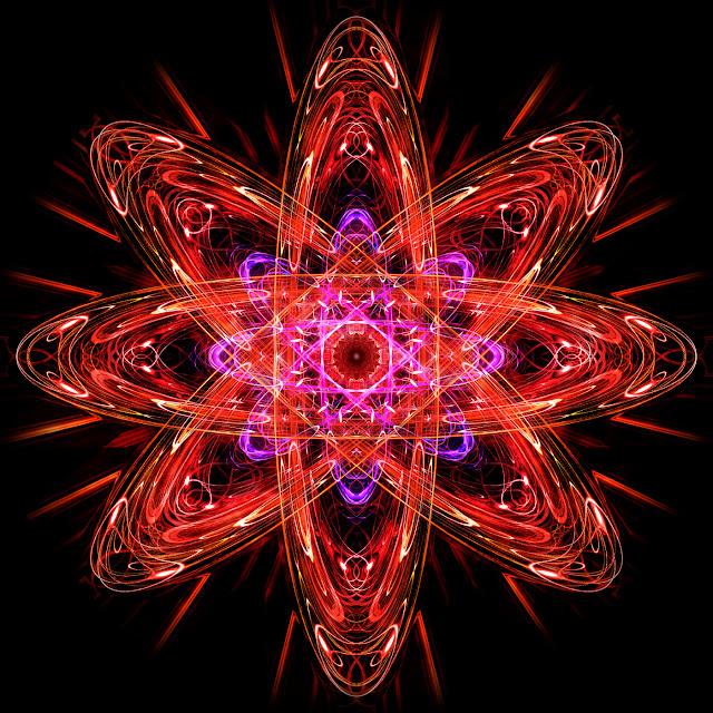Atomo, sol negro, movimento orbital, fractal, imagem digital