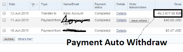 auto withdraw in Paypal