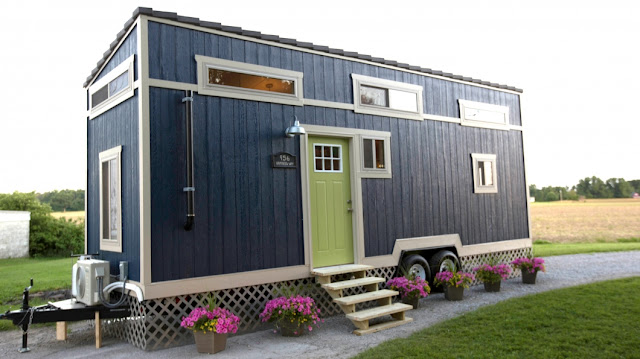 Tiny House with cute blue interior :: OrganizingMadeFun.com