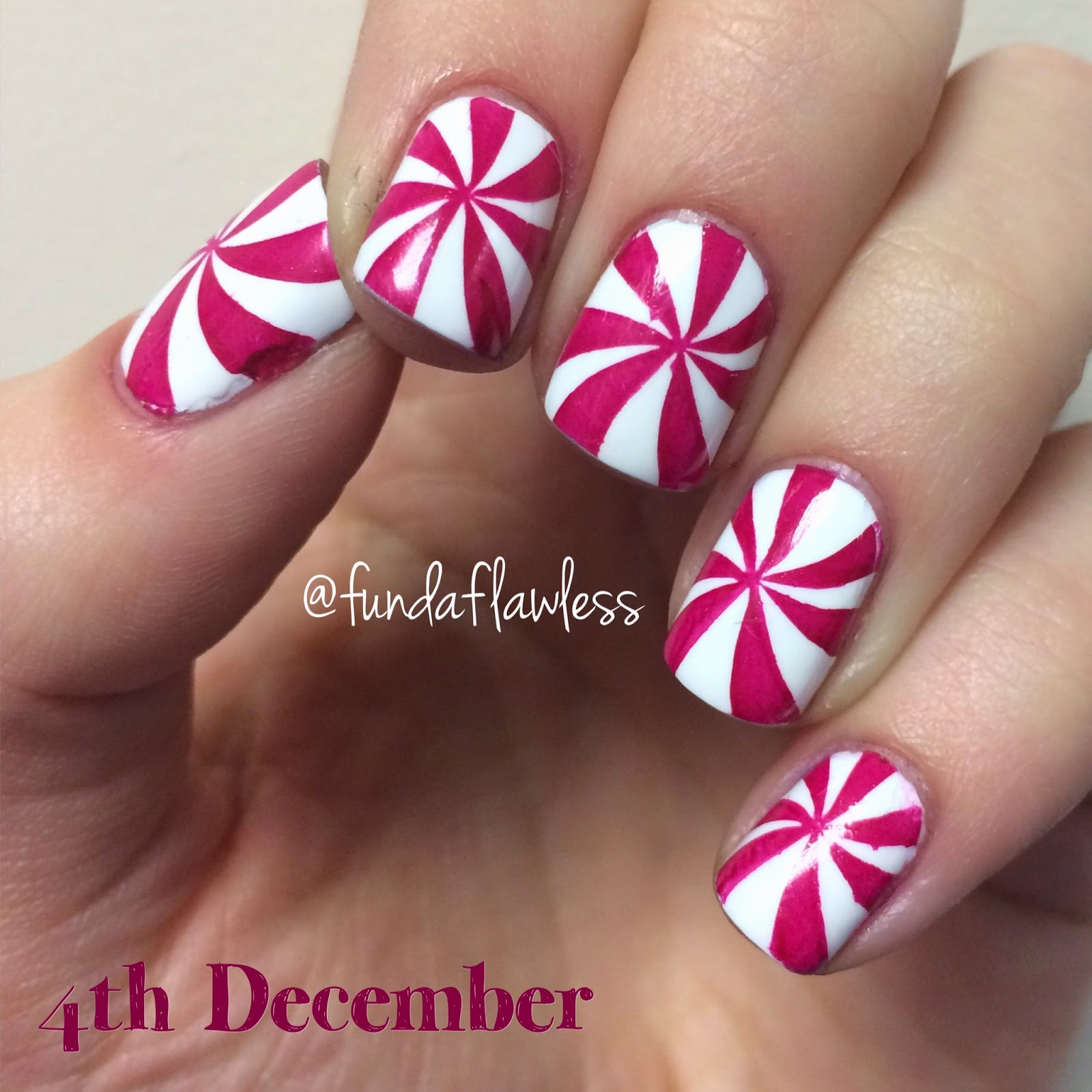 Holiday Peppermint Candy Swirl MoYou Festive Collection Nail Art