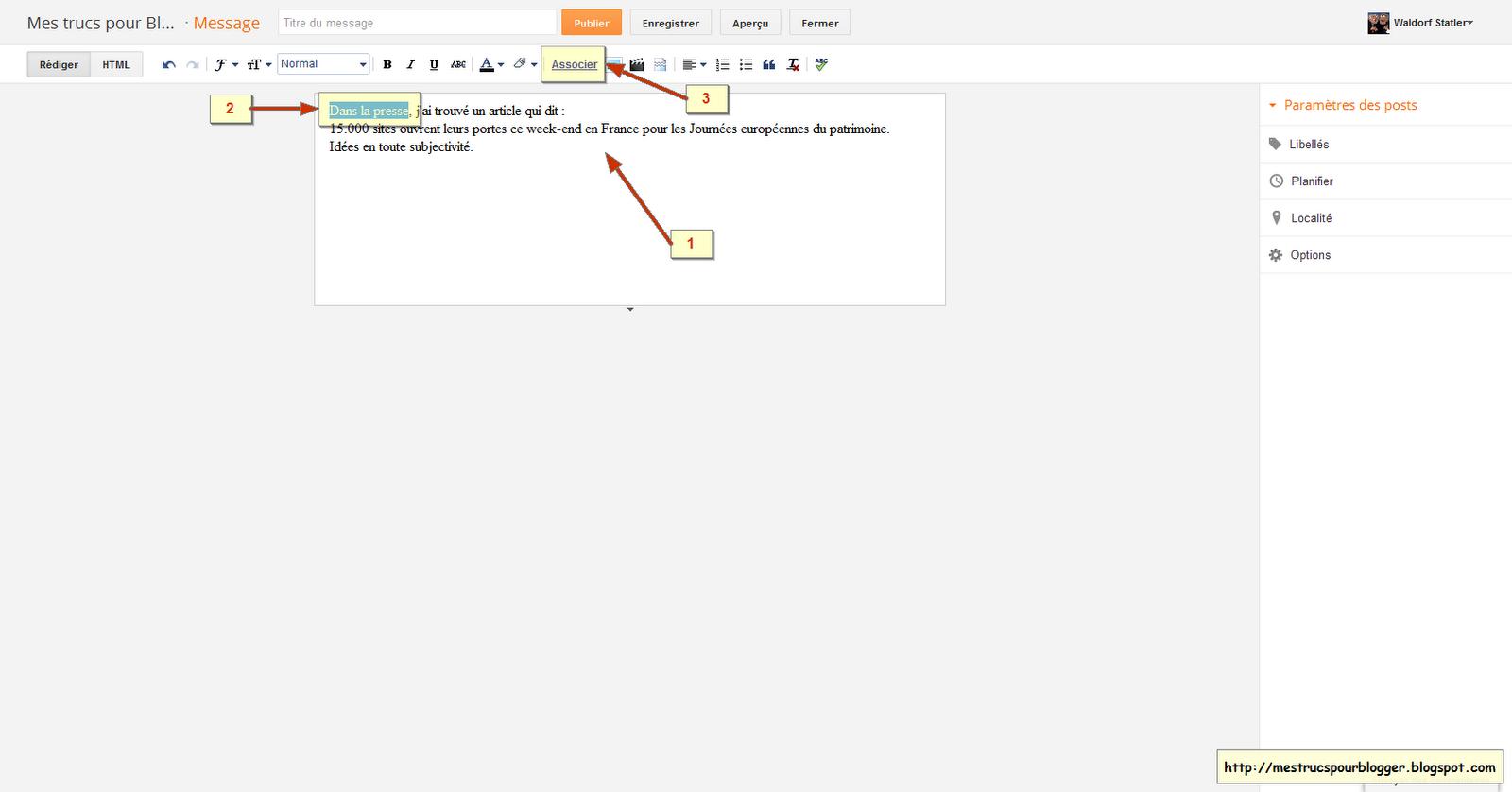 Mes trucs pour blogger associer un lien dans un article for Ouvrir un lien dans une nouvelle fenetre html