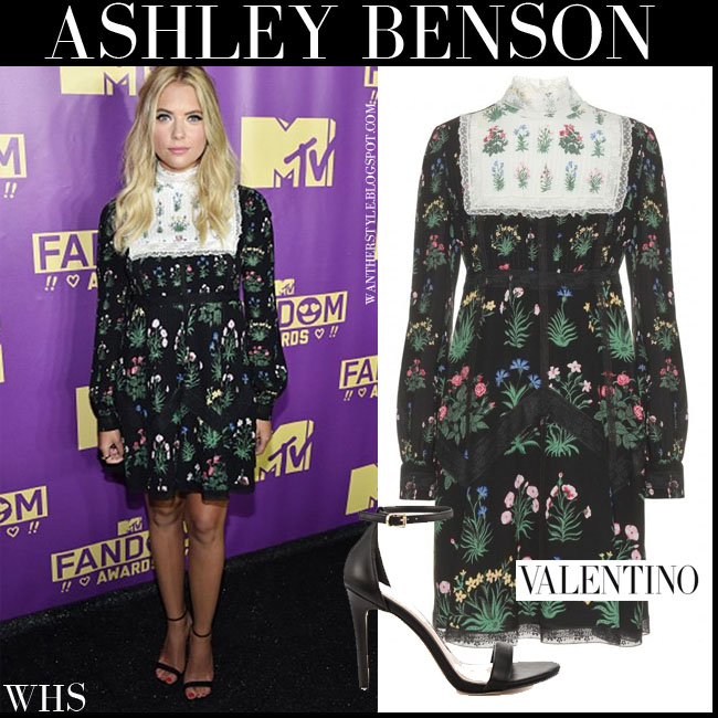 Ashley Benson in black floral print lace trimmed mini dress with long sleeves from Valentino what she wore july 9