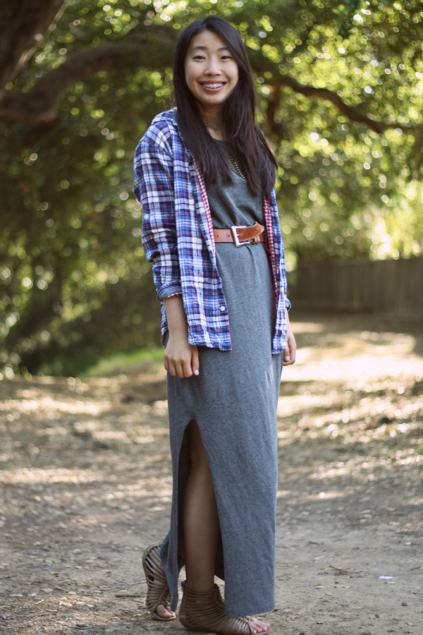casual grunge outfit with maxidress