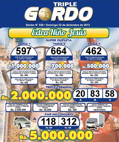 Triple Gordo 539 Extra Niño Jesús
