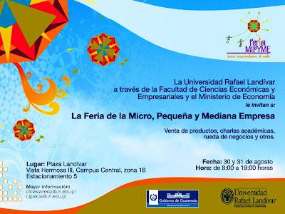 """Feria MIPYME """"Juntos Emprendemos el Vuelo"""", 30 y 31 agosto Plaza Landivar"""