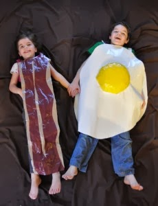 Bacon and Egg costume made with Duct Tape