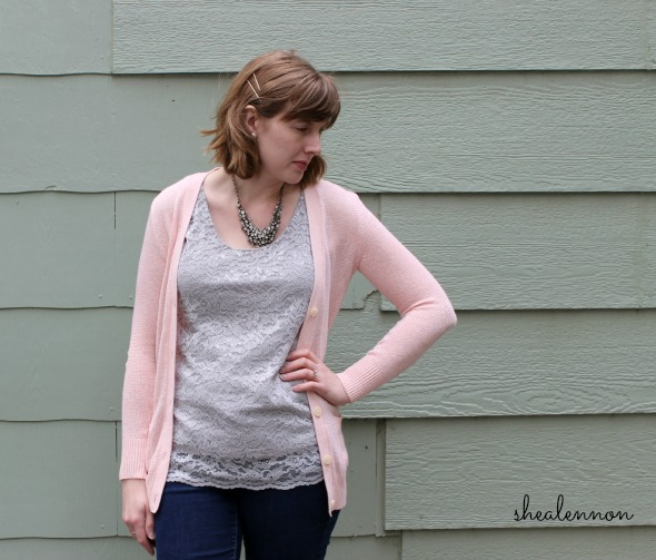 pale pink cardigan, lace top, statement necklace | www.shealennon.com