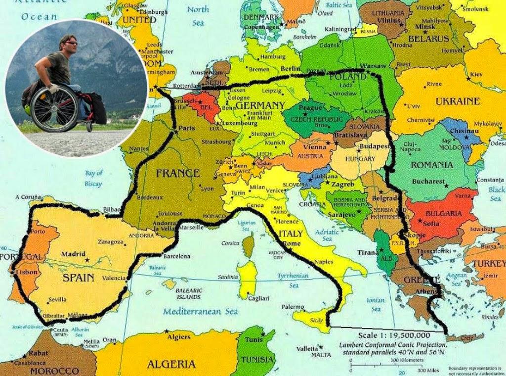 Vasile Stoica, 12000 de kilometri în scaunul cu rotile prin Europa. O lecţie de viaţă. Harta Europa