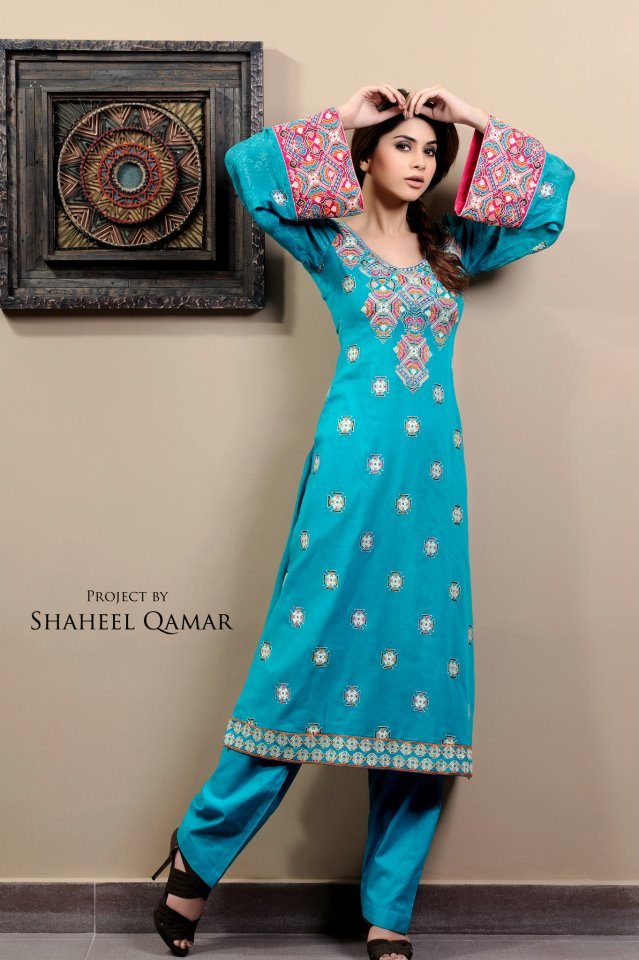 Shaista Wahidi Lawn Sky Blue and pink