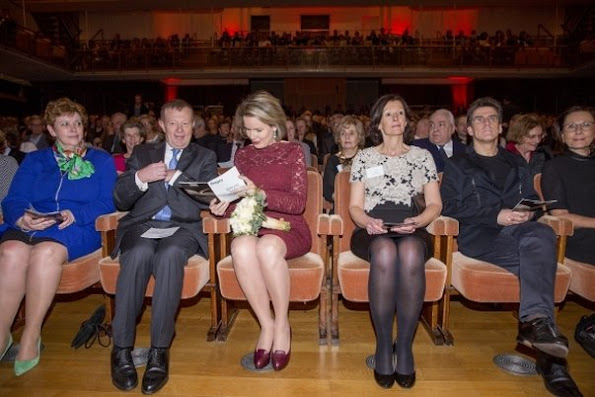 "Queen Mathilde of Belgium attended a gala concert of ""Young Belgian Strings"" which is an orchestra consisting of young talented people from conservatories and music schools at Flagey Concert Hall"