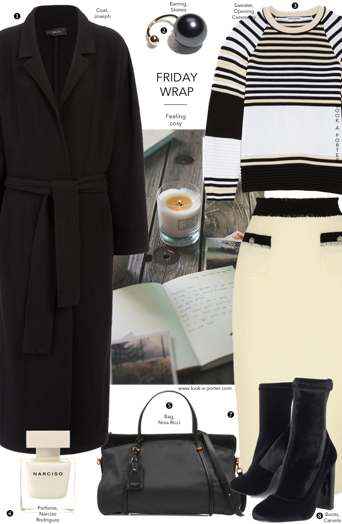 Styling Joseph coat with Chanel-inspired skirt and sporty stripes via www.look-a-porter.com style & fashion blog