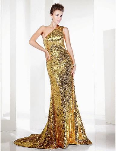 Vestido de noche de lentejuelas dorado EVE