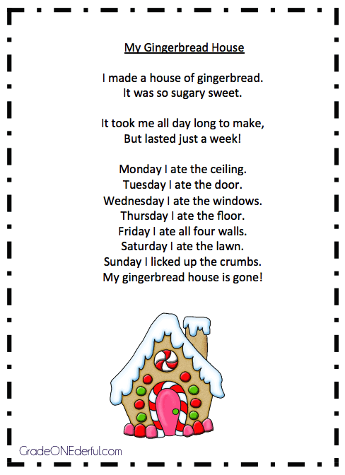 "Christmas Poem Free Printable ""My Gingerbread House"""