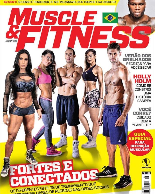 Gracyanne Barbosa, Alice Matos, Jonas Sulzbach, Diego e Camila Guper na capa da Muscle & Fitness. Foto: Reprodução