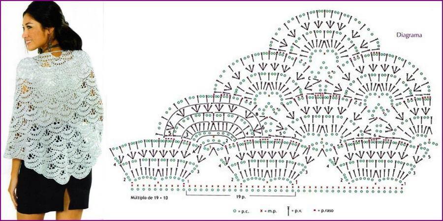 Chal tejido a crochet con patrones - Imagui