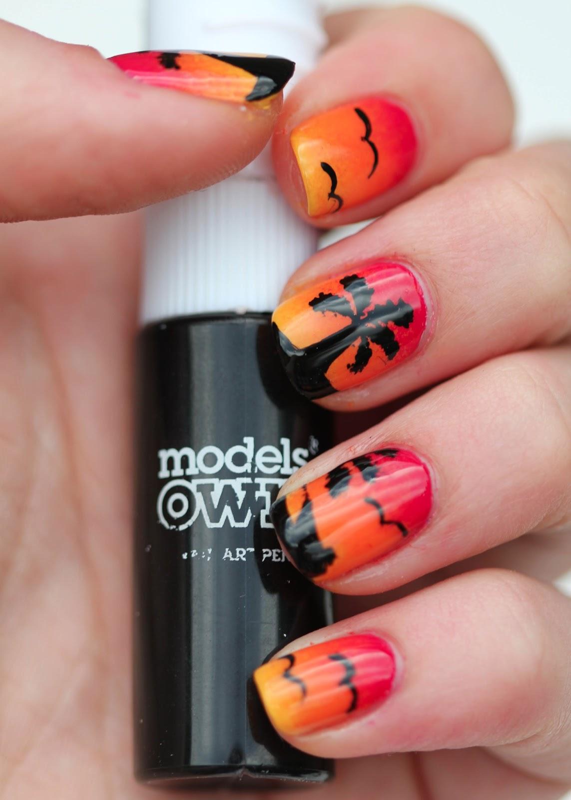 Fundamentally flawless sunset nail art with palm trees and birds sunset nail art with models own black nail art pen prinsesfo Gallery