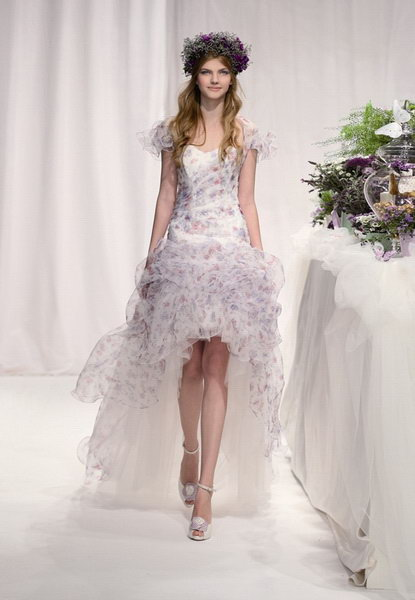 print high-low wedding dress