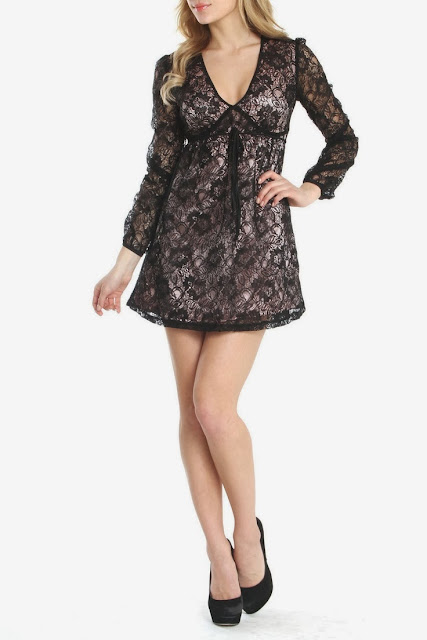 Black Long Sleeve Kate Lace Dress And Black Shoes