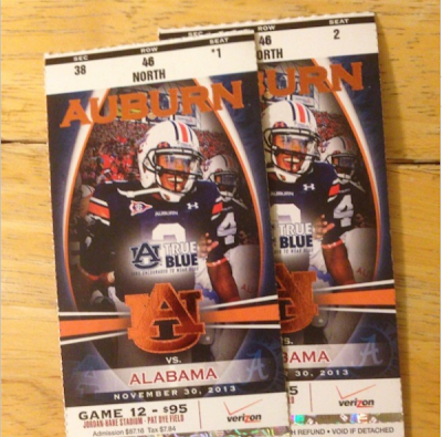 Cam Newton emblazoned on 2013 Iron Bowl tickets.