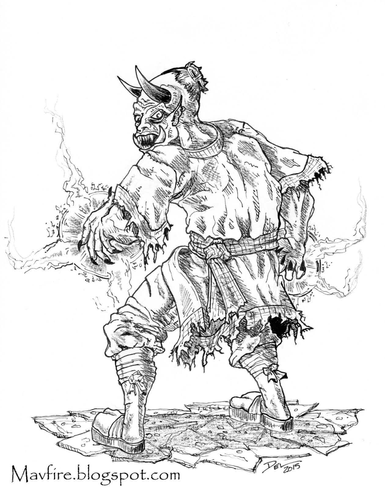 Undead Ogre Magi by Del Teigeler, Mavfire 2015