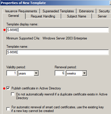 My tech blog exchange 2010 security s mime part 1 for Certificate template renewal period