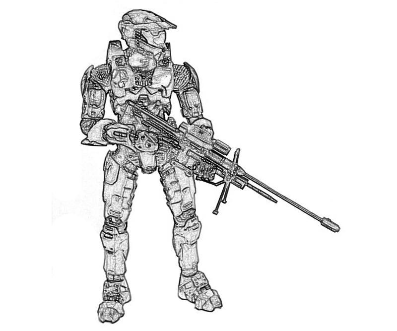 halo 4 john 117 mechine gun coloring pages