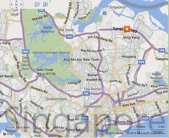 Detail Sengkang Swimming Complex Singapore Location Map – Tourist Map Of Singapore City