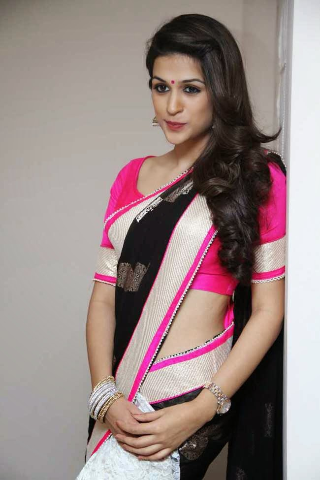 Actress Shraddha Das In Designer Half and Half Saree