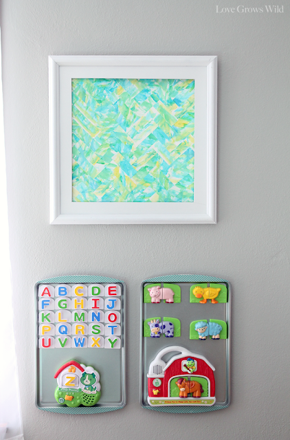 Modern Watercolor Art with Baking Sheet Magnet Boards