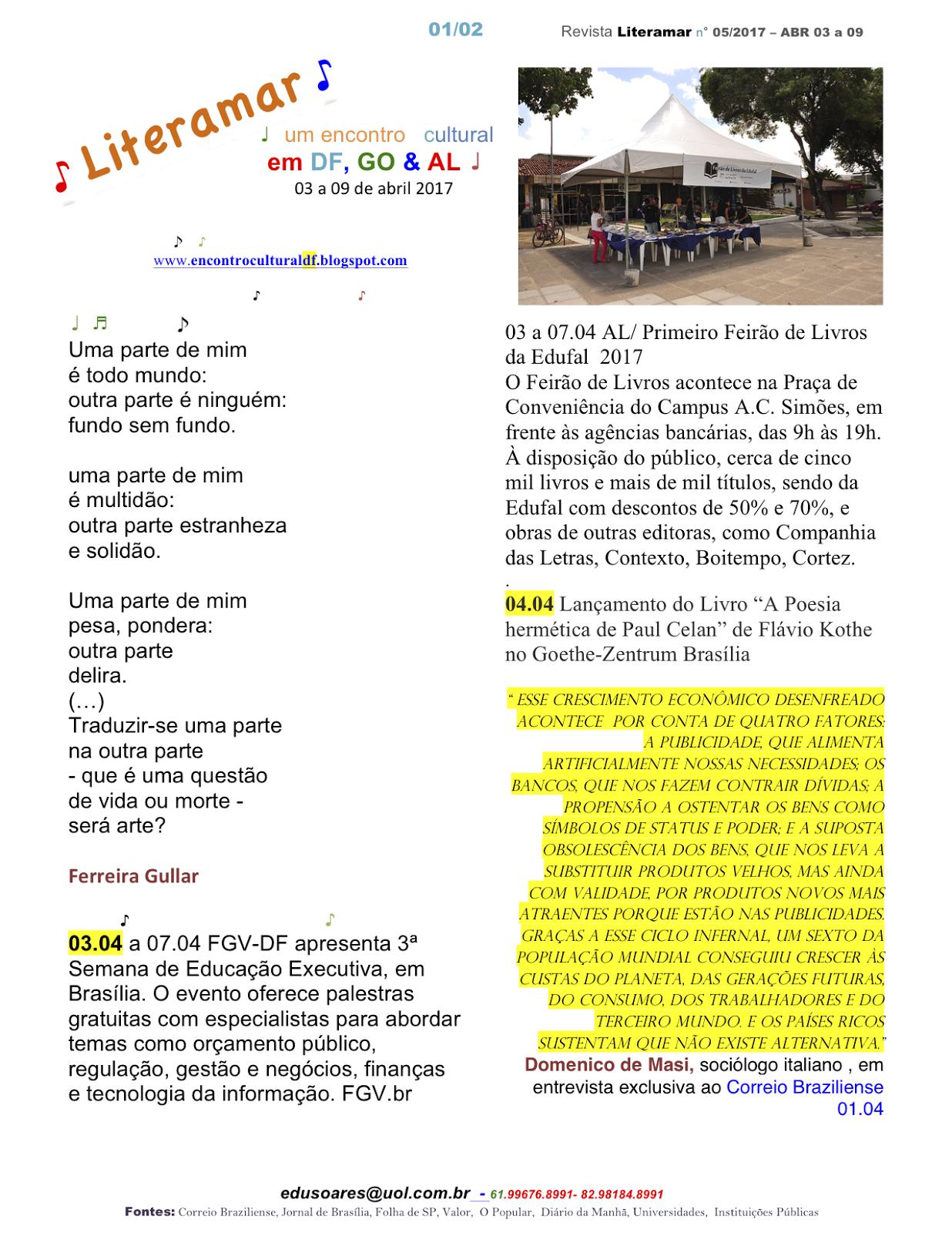 LIteramar, ed. n° 01/2017, um Encontro Cultural com a Arte e Cultura do Planalto Central & Ala