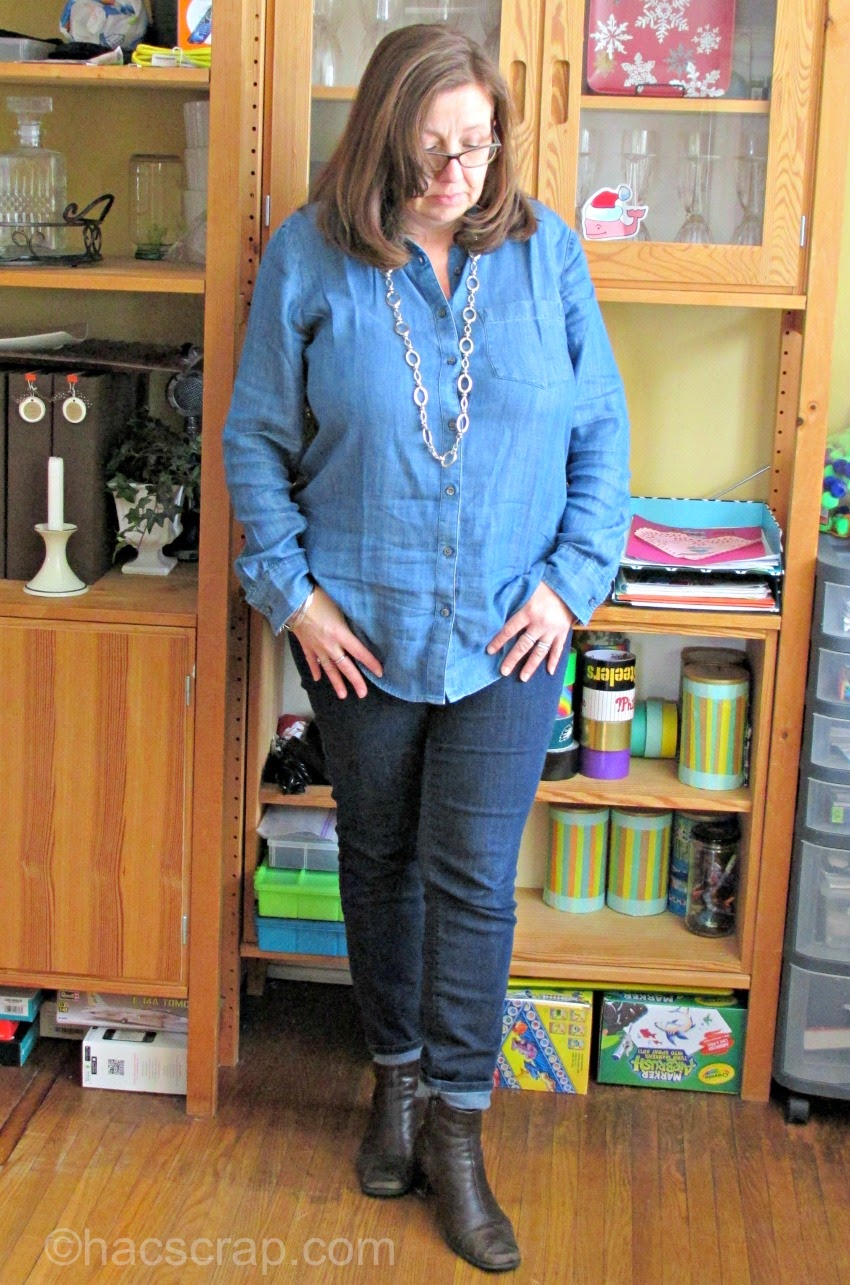 Denim Shirt styled with Skinny Jeans