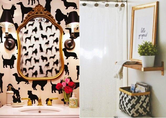 espelho dourado, torneira dourada, papel de parede de cachorrinho