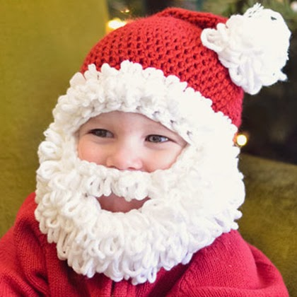 Double Loop Crochet Santa Beard Hat Pattern