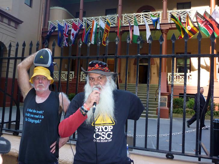 Illawarra Elder Lyle Davis Speaks Outside Parliament